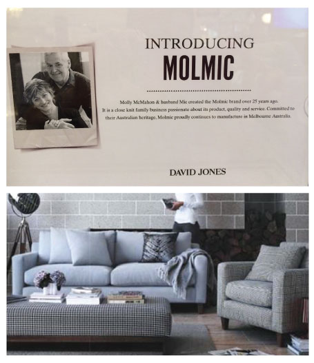 The Molmic story proudly presented in store at David Jones. Nice surprise during recent product training events to see Molly and Michael promoted in store. New furniture displays @davidjones looking great.